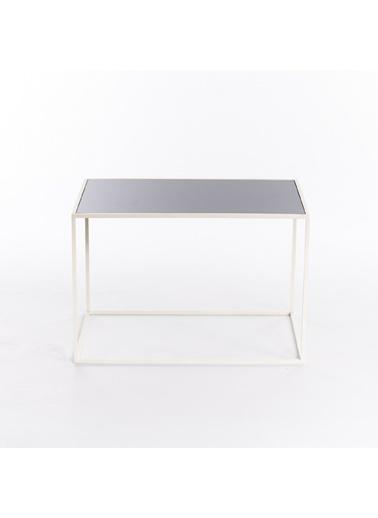 Maxmillen Minimalist Tasarım Metal Orta Sehpa 60 X 40 X 40 Beyaz Renkli